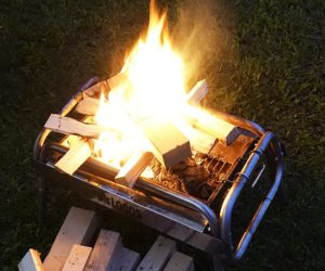 BBQコンロ焚火代用